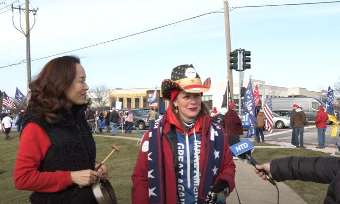Patti Anne attended a Stop the Steal rally in Vernon Hills, Illinois on Nov. 21, 2020. (NTD Television)
