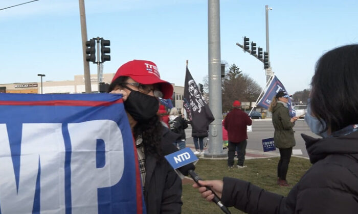 Christina Miles attended a Stop the Steal rally in Vernon Hills, Illinois on Nov. 21, 2020. (NTD Television)