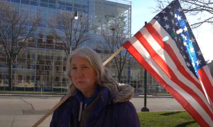 Sharon Abbott attended a Stop the Steal rally in Madison City, Wisconsin on Nov. 21, 2020. (NTD Television)