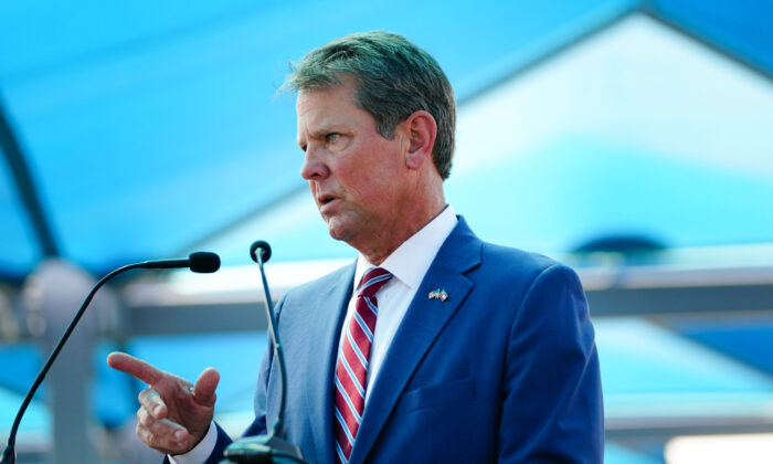 Georgia Gov. Brian Kemp speaks at a press conference announcing expanded statewide COVID testing in Atlanta, Ga., on Aug. 10, 2020. (Elijah Nouvelage/Getty Images)