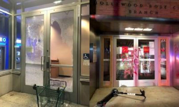 Damage to businesses inflicted by rioters in Portland, Ore., on Nov. 20, 2020. (Portland Police Bureau)