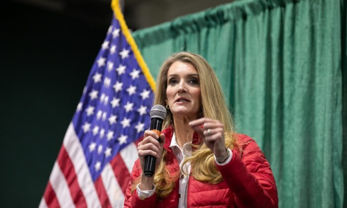 Sen. Kelly Loeffler (R-Ga.) speaks to the crowd during a rally at the Georgia National Fairgrounds and Agriculture Center in Perry, Ga., on Nov. 19, 2020. (Jessica McGowan/Getty Images)