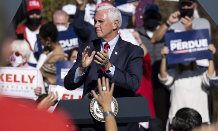 Vice President Mike Pence speaks during a Defend the Majority Rally in Canton, Ga., on Nov. 20, 2020. (Ben Gray/AP Photo)