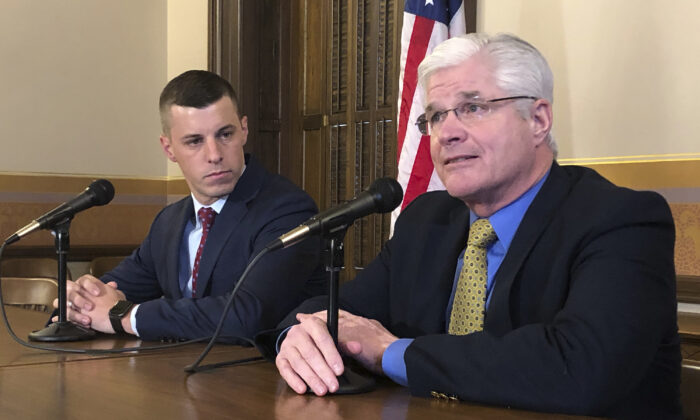 Senate Majority Leader Mike Shirkey, right, and House Speaker Lee Chatfield speak to the media at the Michigan Capitol in Lansing, Mich., on Jan. 30, 2020. (David Eggert/AP Photo)