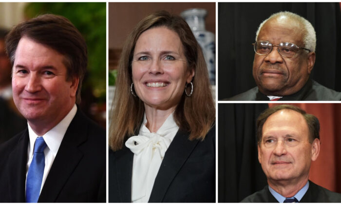 Supreme Court Justices (L-R) Brett Kavanaugh, Amy Coney Barrett, Clarence Thomas, Samuel Alito. (Credit L-R: Brendan Smialowski, Greg Nash, Mandel Ngan/AFP via Getty Images)