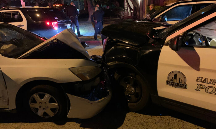A man suspected of driving while impaired crashed into a parked Santa Ana Police Department vehicle in Santa Ana, Calif., on Nov. 20, 2020. (Courtesy of the Santa Ana Police Department)
