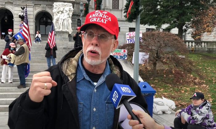 Kyle Toffey attended a Stop the Steal rally in Harrisburg, Pennsylvania on Nov. 21, 2020. (NTD Television)