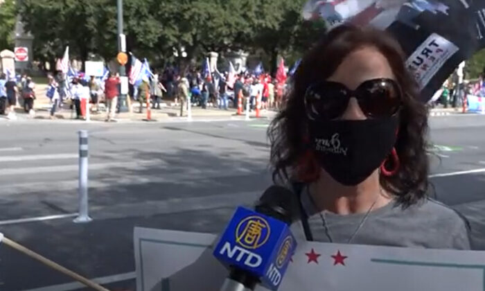 Anna attended a Stop the Steal rally in Austin, Texas on Nov. 21, 2020. (NTD Television)