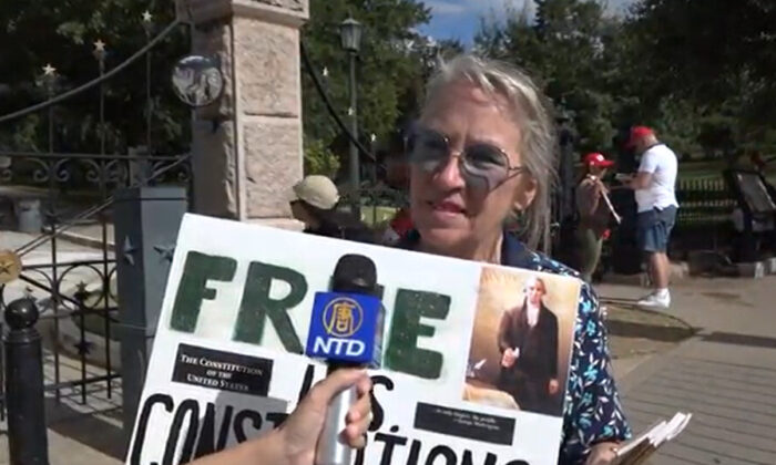 Sue attended a Stop the Steal rally in Austin, Texas on Nov. 21, 2020. (NTD Television)