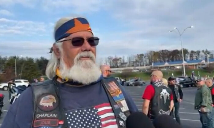 Jim Williams led Bikers for Trump from Arizona to Virginia on Nov. 21, 2020. (NTD Television)