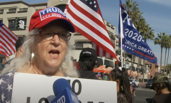 Anita Gallup attended a Stop the Steal rally in Los Angeles on Nov. 21, 2020. (NTD Television)