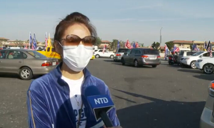 Sandy Chu attended a Stop the Steal rally in Los Angeles on Nov. 21, 2020. (NTD Television)