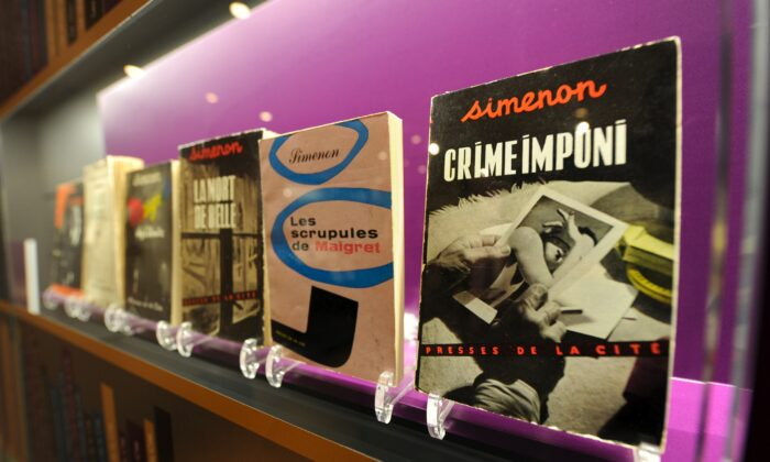 Books by Belgian-writer Georges Simenon at the Museum of Letters and Manuscripts, now permanently closed, in Brussels. (JOHN THYS/AFP via Getty Images)