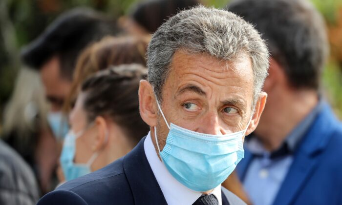 Former French President Nicolas Sarkozy attends a ceremony in Nice, southern France, on Oct. 29, 2020. (Valery Hache/Pool via AP)