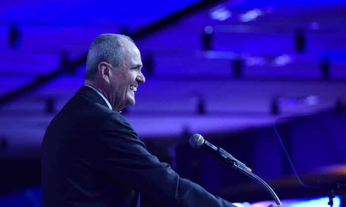 New Jersey Gov. Phil Murphy speaks at Liberty Science Center in Jersey City, N.J. on May 13, 2019. (Eugene Gologursky/Getty Images for Liberty Science Center )