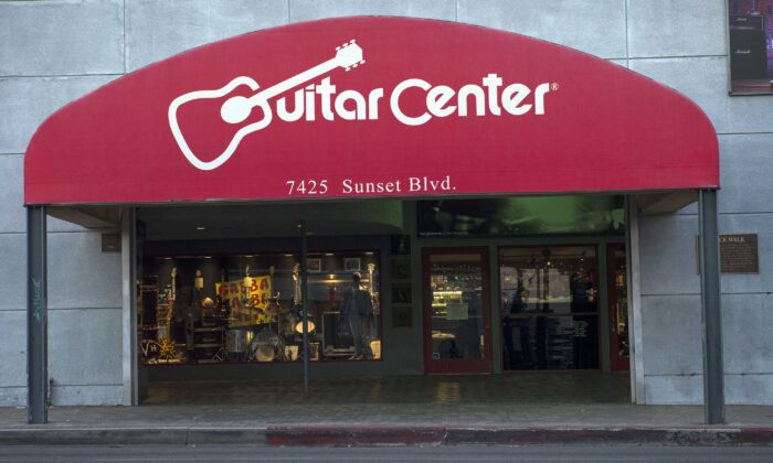 A Guitar Center store on Sunset Boulevard in Hollywood, Calif., on Dec. 6, 2017. (Valerie Macon/AFP via Getty Images)