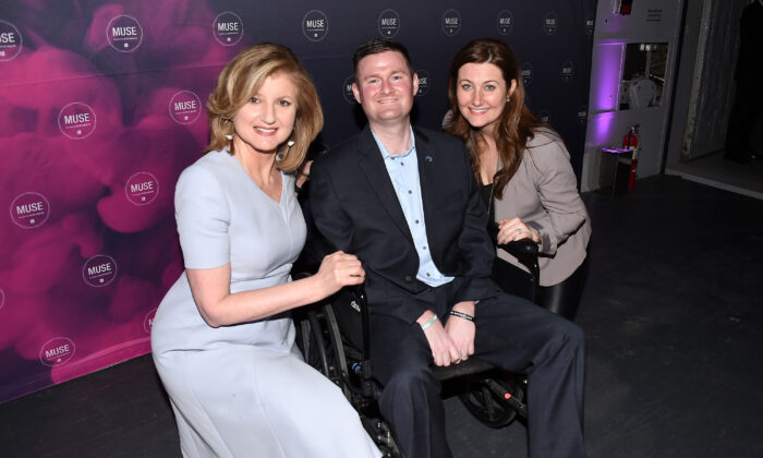 Author Arianna Huffington, co-founder of ALS ice bucket challenge Patrick Quinn, and Anne Quinn attend the Klick Health MUSE NYC in New York City on March 31, 2016.  (Nicholas Hunt/Getty Images for Klick, Inc.)