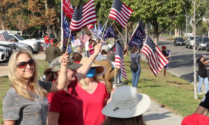 A gathering in Cypress, Calif., calls for election integrity and supports President Donald Trump, on Nov. 21, 2020. (Steven Maikoski)