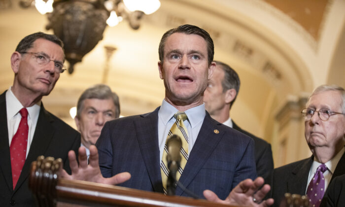 Republican Senatorial Committee Chairman Todd Young (R-IN) speaks to reporters in Washington, on March 10, 2020. (Samuel Corum/Getty Images)