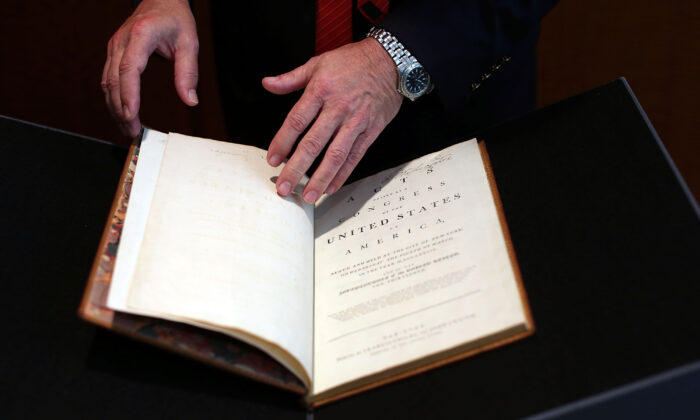 A copy of President George Washington's personal copy of the Constitution and Bill of Rights is viewed at Christie's auction house on June 15, 2012. (Spencer Platt/Getty Images)