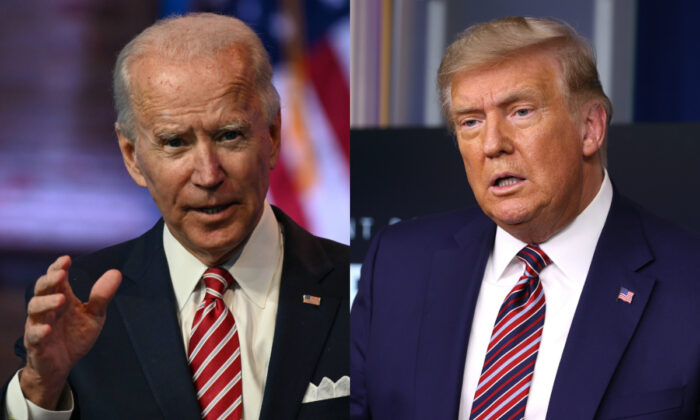 Democratic presidential nominee Joe Biden, left, and President Donald Trump in file photographs. (Getty Images)