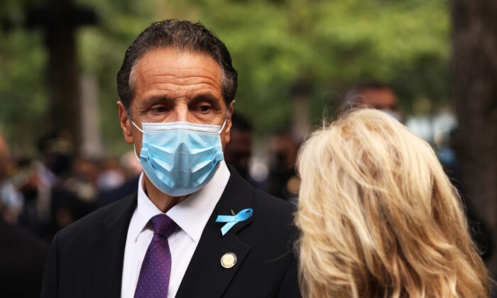 New York Gov. Andrew Cuomo speaks during a memorial service at the National September 11 Memorial and Museum in New York City on Sept. 11, 2020. (Michael M. Santiago/Getty Images)