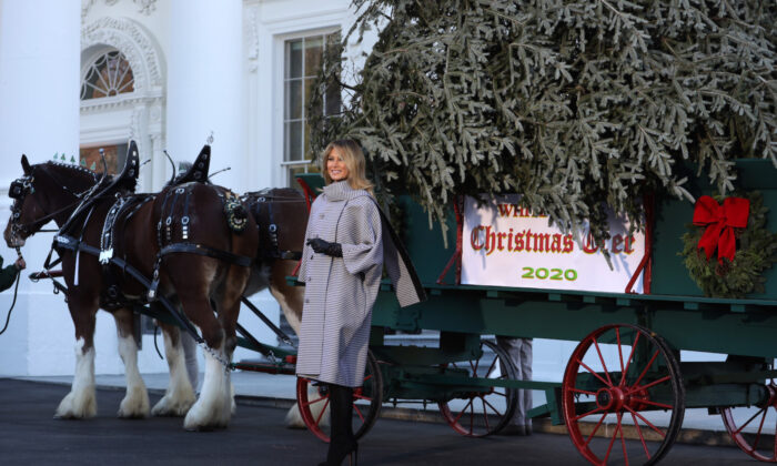 First Lady Melania Trump receives the 2020 White House Christmas Tree at the White House in Washington on Nov. 23, 2020. (Alex Wong/Getty Images)