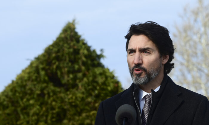 Prime Minister Justin Trudeau makes an announcement at the Ornamental Gardens in Ottawa on Nov. 19, 2020. (Sean Kilpatrick/The Canadian Press)