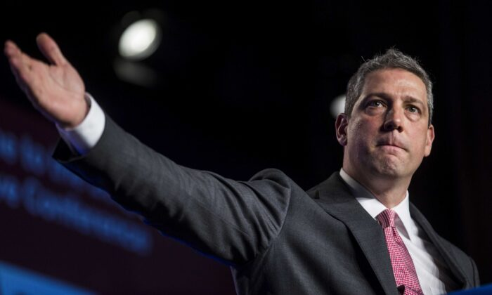 Rep. Tim Ryan (D-Ohio) speaks during the North American Building Trades Unions Conference at the Washington Hilton in Washington on April 10, 2019. (Zach Gibson/Getty Images)