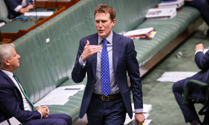 Australia's Attorney-General Christian Porter  during Question Time in the House of Representatives at Parliament House in Canberra, Australia on Sept. 3, 2020. (David Gray/Getty Images)