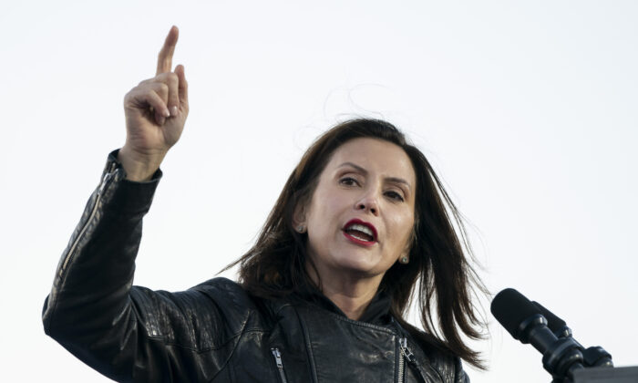 Gov. Gretchen Whitmer speaks during a drive-in campaign rally with Democratic presidential nominee Joe Biden and former President Barack Obama at Belle Isle in Detroit, Mich., on Oct. 31, 2020. (Drew Angerer/Getty Images)