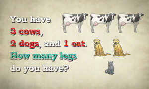 Can You Solve This Tricky Leg Riddle? You Have 3 Cows, 2 Dogs, and 1 Cat. How Many Legs Do You Have?