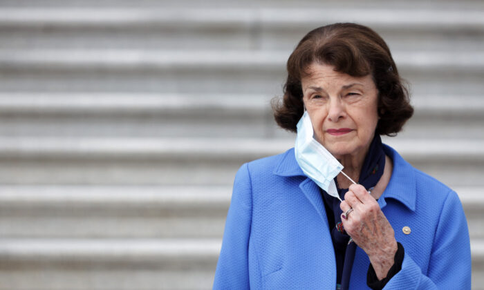 Sen. Dianne Feinstein (D-Calif.), ranking member of the Senate Judiciary Committee, listens during a news conference in front of the U.S. Capitol in Washington on Oct. 22, 2020. (Alex Wong/Getty Images)