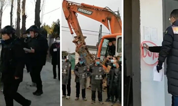 Screenshot of scenes of forced demolition at Xiaotangshan, Beijing in November 2020. (Courtesy of interviewees)