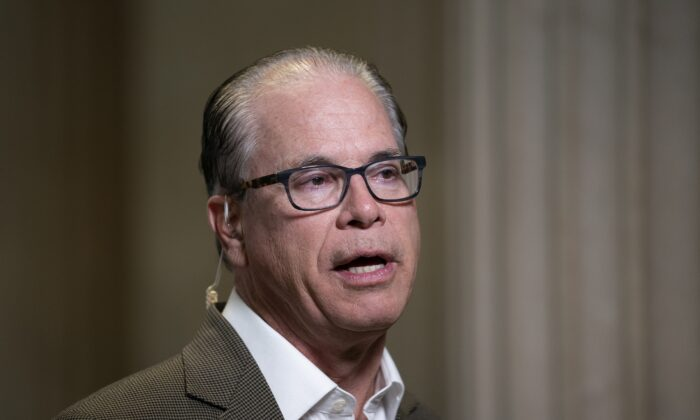 Sen. Mike Braun (R-Ind.) speaks in Washington on Oct. 20, 2020. (Stefani Reynolds/Getty Images)