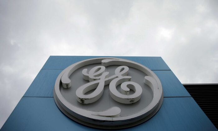 The logo of U.S. conglomerate General Electric is seen on the company building in Belfort, France, on Oct. 19, 2019. (Vincent Kessler/Reuters)
