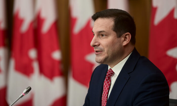 Minister of Immigration, Refugees and Citizenship Marco Mendicino holds a press conference in Ottawa on Nov. 12, 2020.  (The Canadian Press/Sean Kilpatrick)