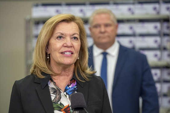 Ontario Health Minister Christine Elliott speaks at the daily briefing at Humber River Hospital in Toronto on Nov. 24, 2020. (The Canadian Press/Frank Gunn)