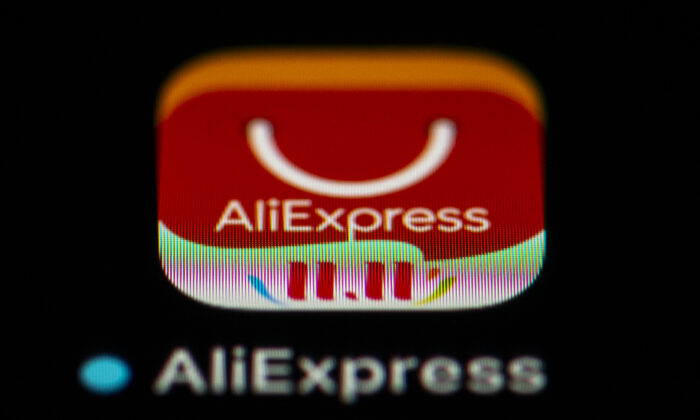 The logo of the smartphone app of Chinese online retail service Aliexpress. It's one of the Chinese apps banned by India on Nov. 24, 2020. (Lionel Bonaventure/AFP via Getty Images)