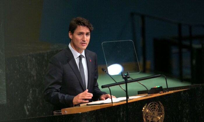 Prime Minister Justin Trudeau addresses the U.N. General Assembly at the United Nations in New York on Sept. 21, 2017. (Kevin Hagen/Getty Images)