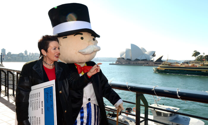 Sydney's Lord Mayor Clover Moore (L) and Mr Monopoly on June 8, 2012. (William West/GettyImages)