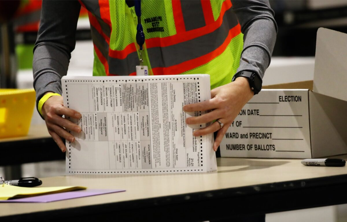 Election workers count ballots