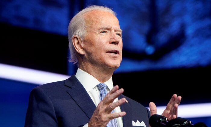 Democratic presidential nominee Joe Biden speaks in Wilmington, Del., on Nov. 24, 2020. (Joshua Roberts/Reuters)