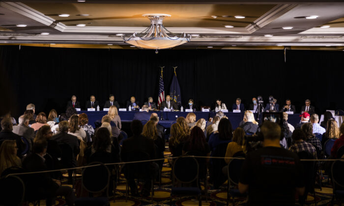 The Pennsylvania Senate Majority Policy Committee holds a public hearing Wednesday at the Wyndham Gettysburg hotel to discuss the 2020 election issues and irregularities with President Trump's lawyer Rudy Giuliani in Gettysburg, Pa., on Nov. 25, 2020. (Samuel Corum/Getty Images)