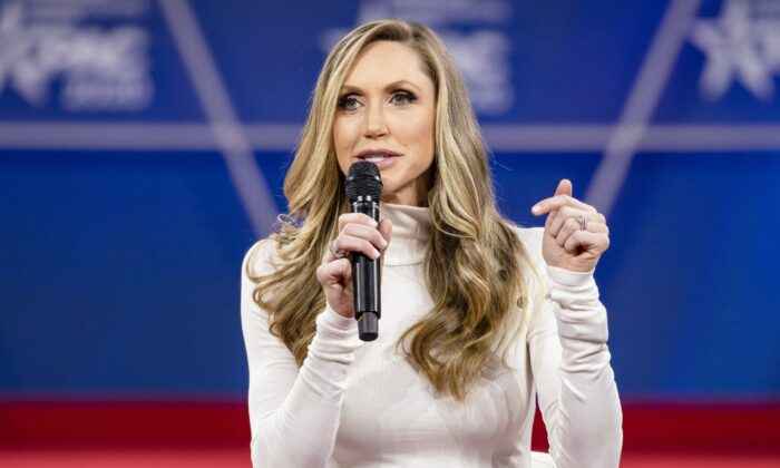 Lara Trump, President Donald Trump's daughter-in-law, speaks during the Conservative Political Action Conference in National Harbor, Md., on Feb. 28, 2020. (Samuel Corum/Getty Images)