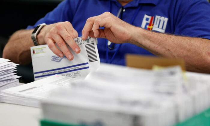 Mail-in ballots are counted in Lehigh County, Penn., on Nov. 4, 2020. (Rachel Wisniewski/Reuters)
