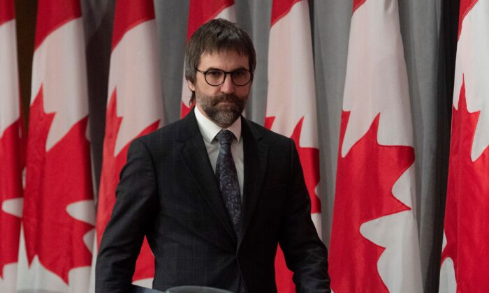 Minister of Canadian Heritage Steven Guilbeault arrives for a news conference in Ottawa on April 17, 2020. (The Canadian Press/Adrian Wyld)