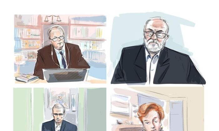Defence lawyer Boris Bytensky, clockwise from top left, father of the accused Vahe Minassian, Justice Anne Malloy, and defendant Alek Minassian are shown during a murder trial conducted via Zoom videoconference, in this courtroom sketch on Nov. 16, 2020. (The Canadian Press/Alexandra Newbould)