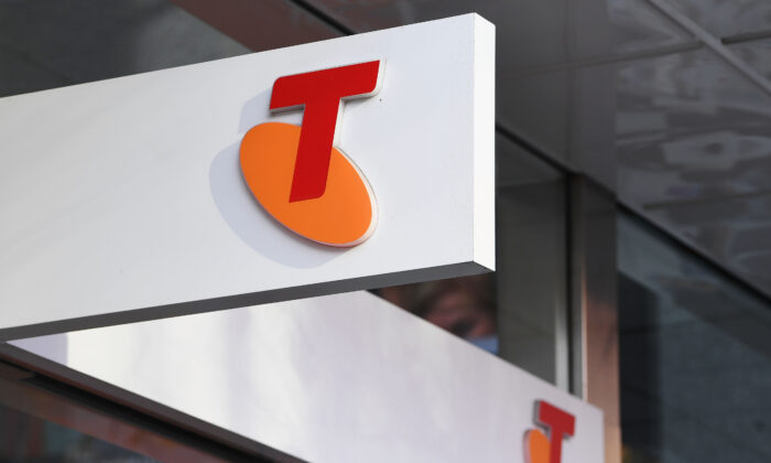 A Telstra logo is seen outside the Telstra Melbourne headquarters on June 14, 2017 in Melbourne, Australia. (Michael Dodge/Getty Images)