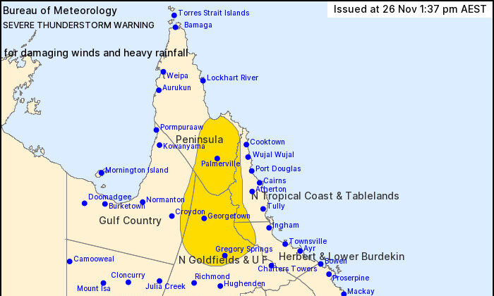 Bureau of Meteorology warning issued at Issued at 1:37 p.m. Thursday, Nov. 26, 2020.